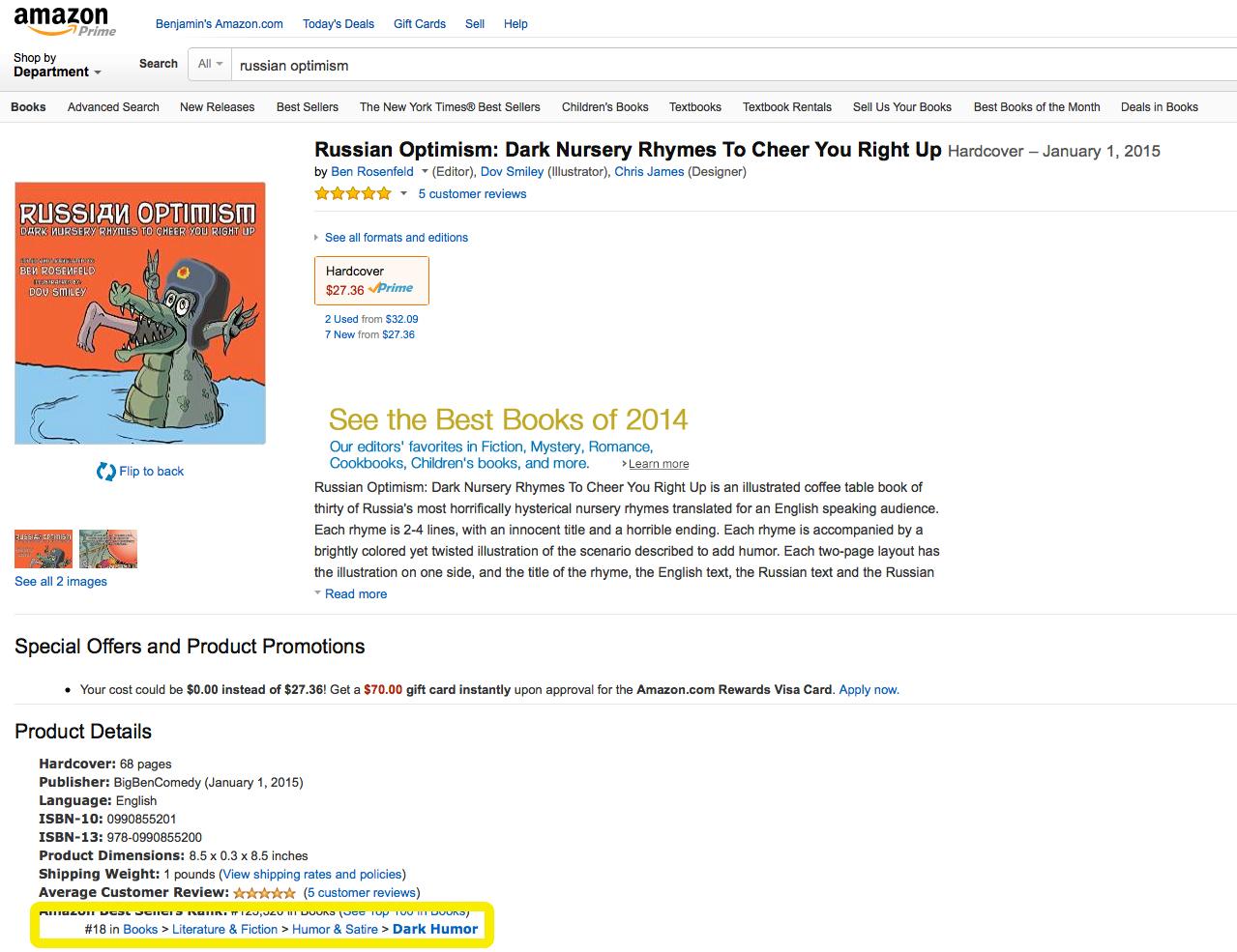 Russian Optimism has been in Amazon's Top 20 Best Sellers for Dark Humor