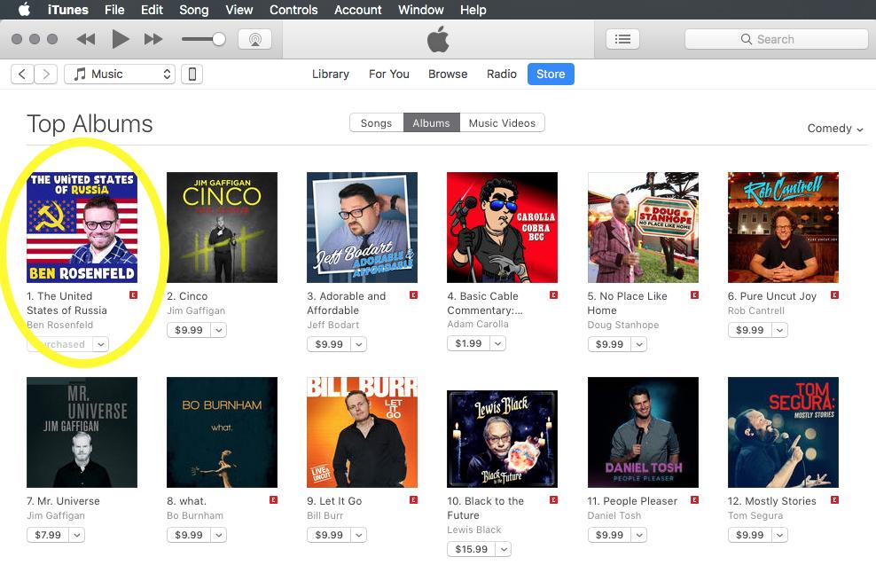 Ben's Album #1 on iTunes Comedy Charts! - Ben Rosenfeld